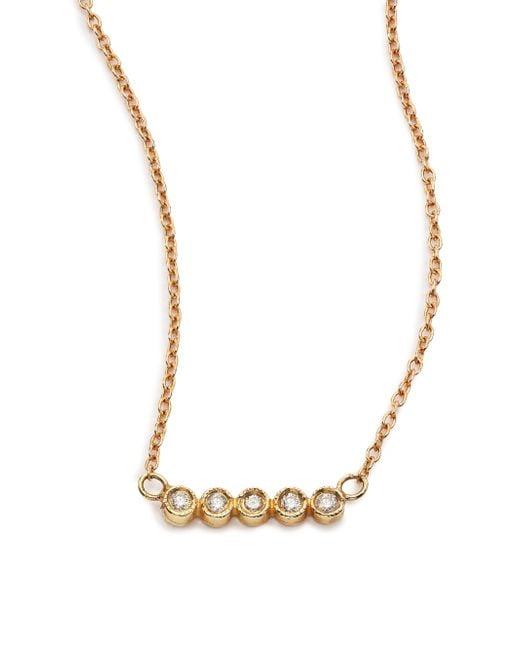 Jacquie Aiche | Metallic Diamond & 14k Yellow Gold Five-bezel Necklace | Lyst