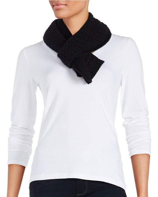 Lord & Taylor   Black Cashmere Knit Scarf   Lyst