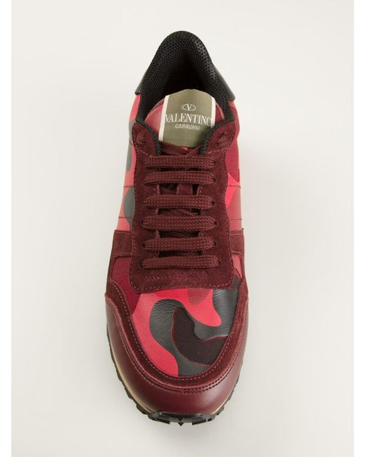 Valentino   Purple Rockrunner Paneled Camouflage Low-Top Sneakers   Lyst