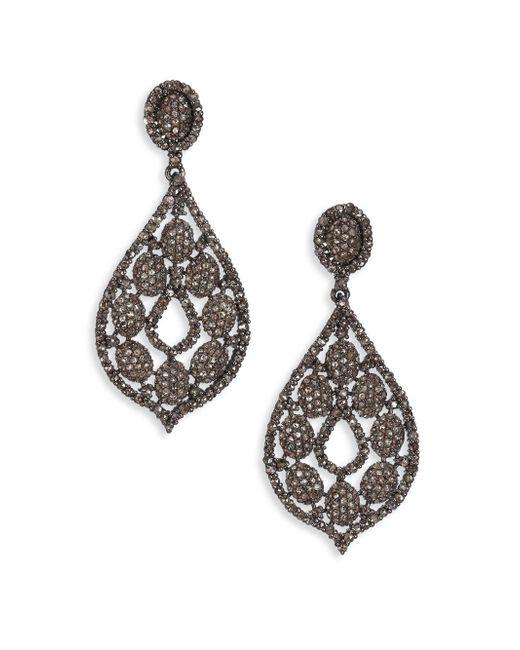 Bavna   Multicolor 6.63 Tcw Diamond & Sterling Silver Pear Drop Earrings   Lyst