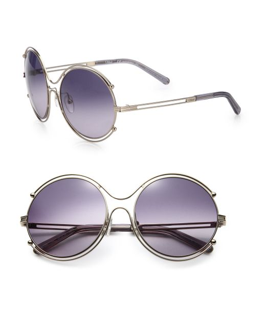 Chloé | Purple Isadora 59mm Round Sunglasses | Lyst