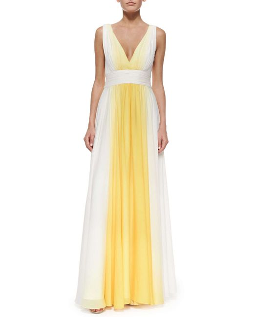 Halston | Yellow Sleeveless Ombre Flowy Gown | Lyst