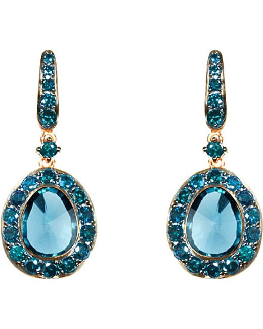 Annoushka | Blue Dusty Diamonds 18ct Rose-gold, Diamond And Topaz Drop Earrings | Lyst