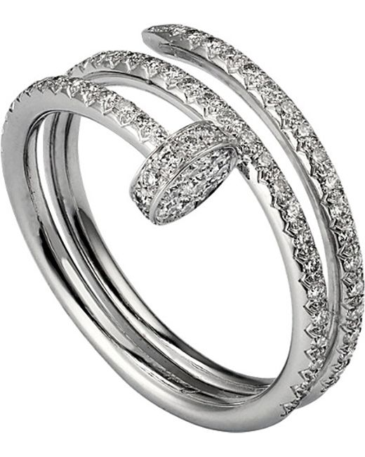 Cartier | Metallic Juste Un Clou 18ct White-gold And Diamond Double Ring | Lyst