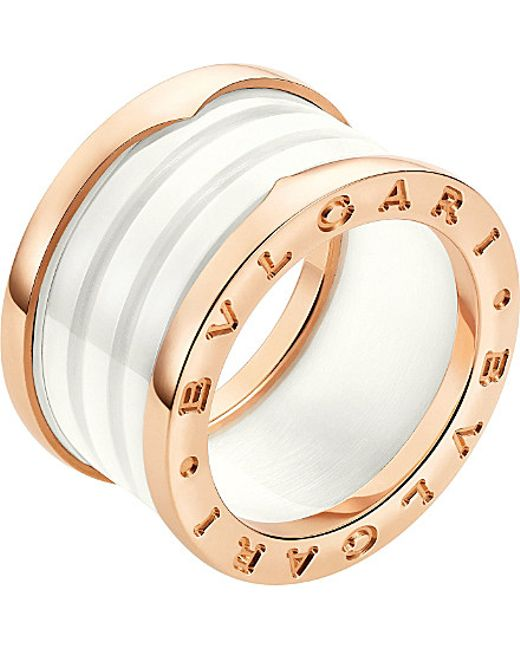 BVLGARI | B.zero1 Four-band 18kt Pink-gold And Ceramic Ring | Lyst