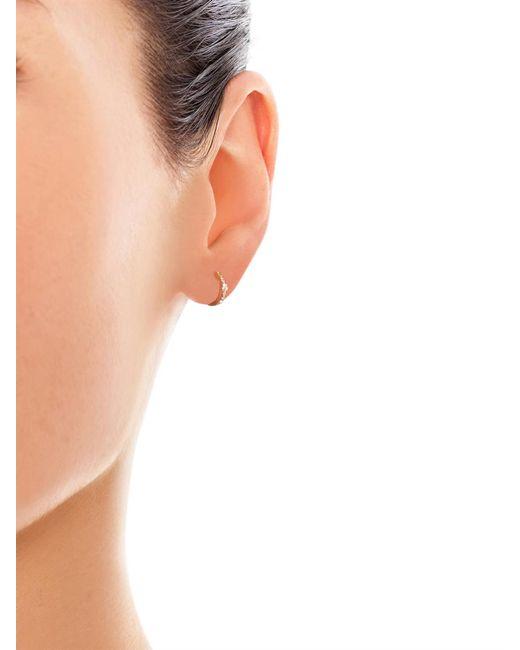 Elise Dray | Metallic Diamond & Pink-gold Mini Hoop Earring | Lyst