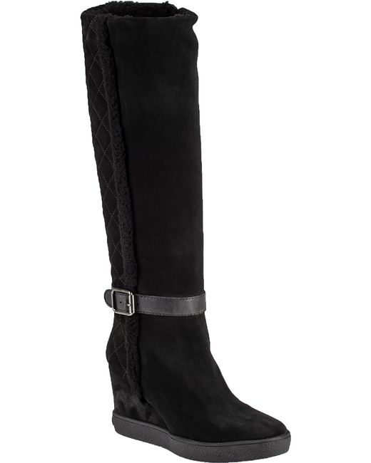 aquatalia callie suede wedge knee high boots in black
