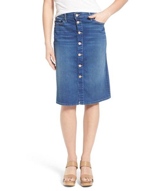 high rise button front denim skirt in blue blue