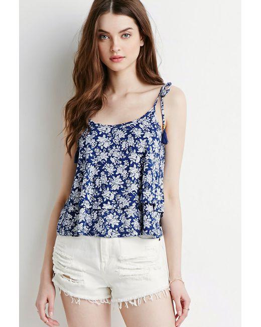 Forever 21   Blue Tassled Floral Flounce Cami   Lyst