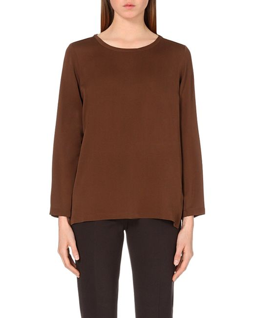 Max Mara | Brown Long-sleeved Silk Top | Lyst