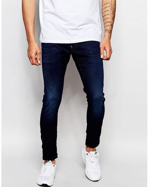 G-Star RAW | Blue Jeans Defend Super Slim Skinny Fit Slander Indigo Superstretch Dark Aged for Men | Lyst