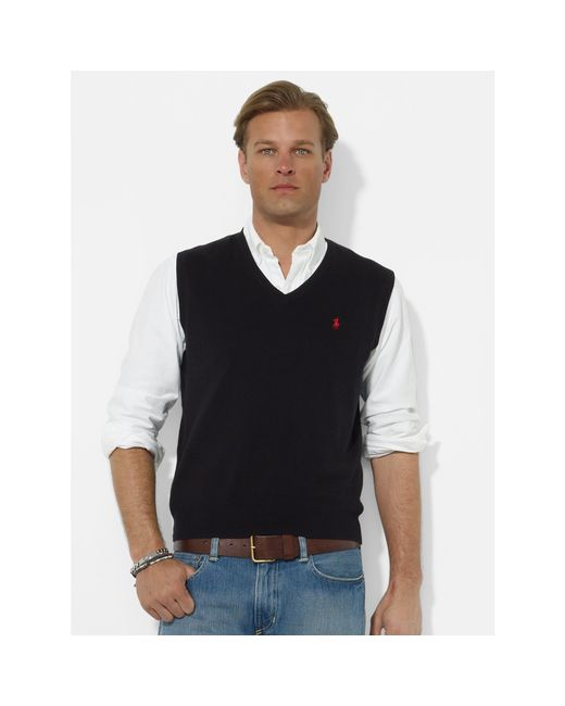 Polo Ralph Lauren   Black Pima Cotton V-neck Vest for Men   Lyst