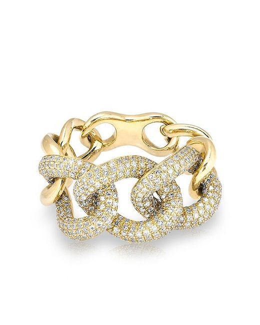 Anne Sisteron | Metallic 14kt Yellow Gold Luxe Diamond Chain Link Ring | Lyst