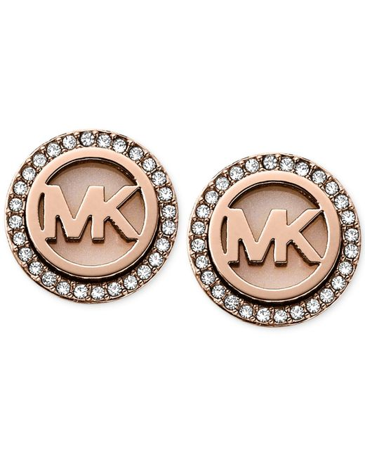 Michael Kors | Pink Rose Gold-tone Mk Logo Disc Earrings - Macy's Exclusive | Lyst