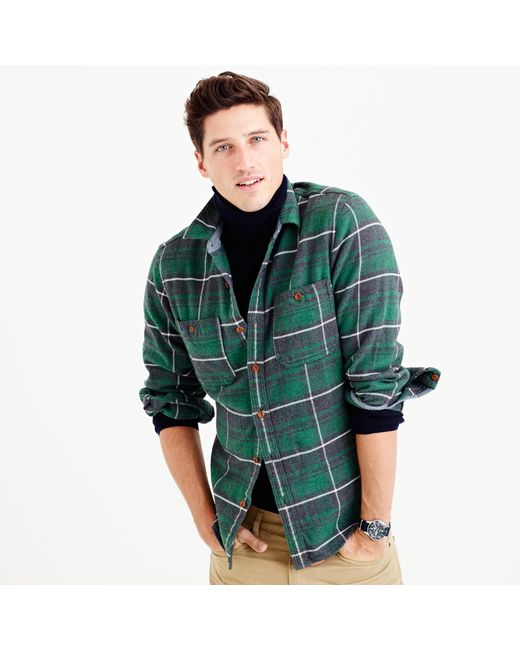 J.Crew | Green Wallace & Barnes Heavyweight Flannel In Marlow Plaid for Men | Lyst