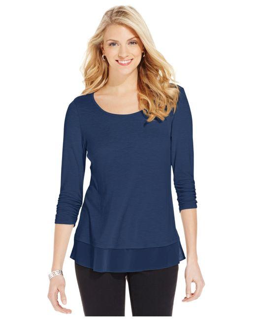 Style & Co. | Blue Chiffon-hem Three-quarter-sleeve Top | Lyst