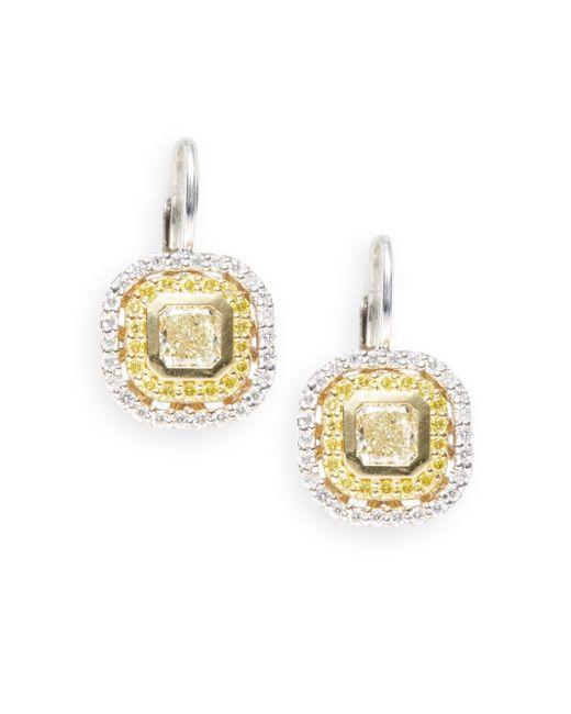 Saks Fifth Avenue | Metallic 1.65 Tcw Diamond, 18k White & Yellow Gold Cushion Drop Earrings | Lyst