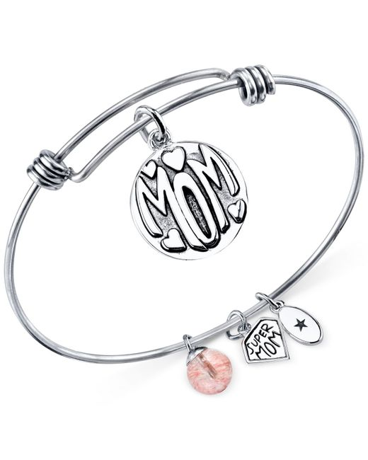 Macy's | Metallic Unwritten Mom Charm And Cherry Quartz (8mm) Bangle Bracelet In Stainless Steel | Lyst