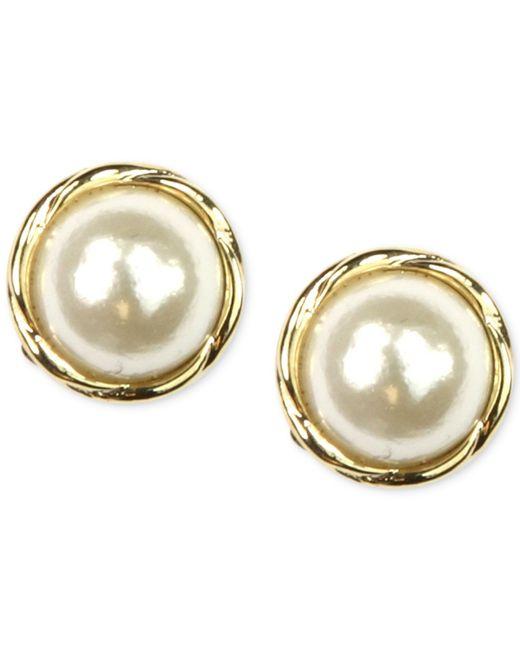 Anne Klein   Metallic Gold-tone Glass Pearl Twist Stud Earrings   Lyst
