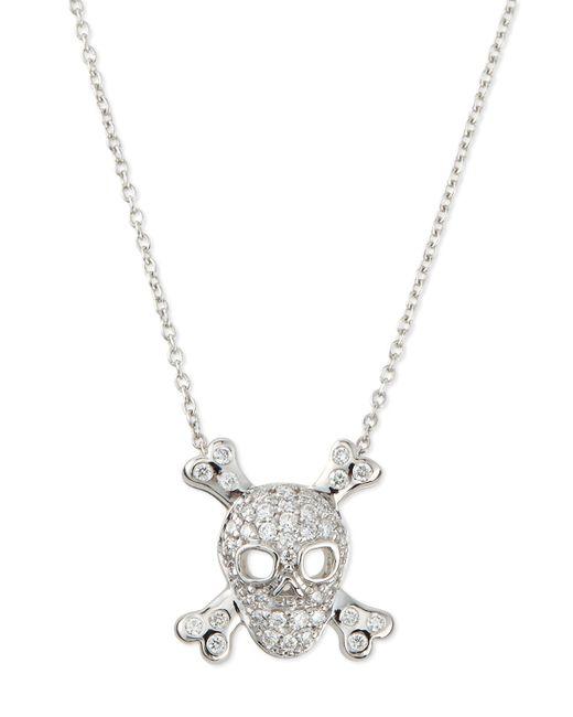 Roberto Coin | Metallic 18k White Gold Diamond Skull & Crossbones Necklace | Lyst