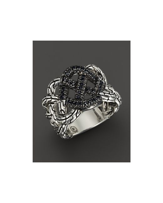 John Hardy | Classic Chain Silver Lava Woven Braided Ring With Black Sapphire - Bloomingdale's Exclusive | Lyst