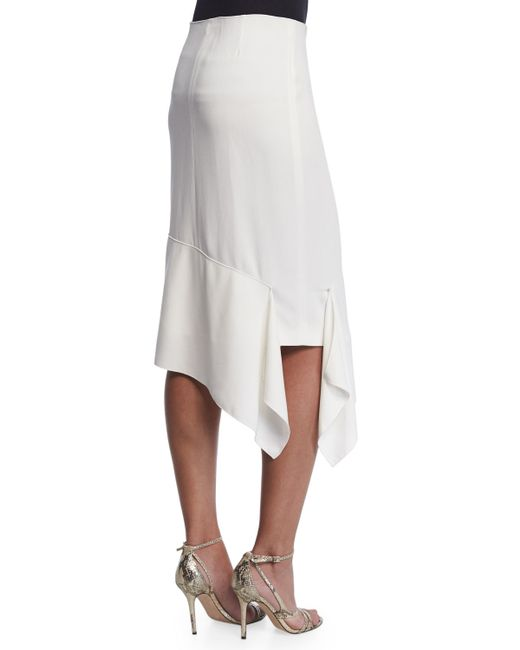 joseph asymmetric pencil skirt in white white save