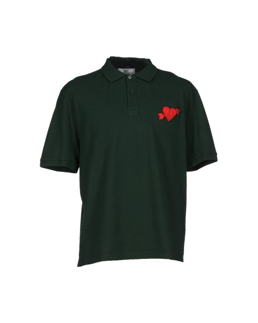 Ami polo shirt in green for men dark green lyst for Dark green mens polo shirt