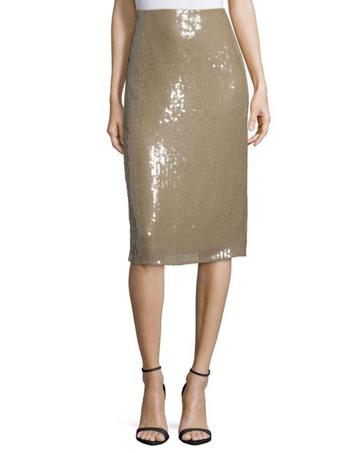 ricci embellished below knee pencil skirt in beige