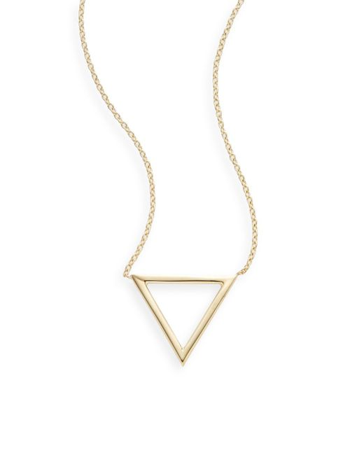 Saks Fifth Avenue   Metallic Ophol 14k Yellow Gold Triangle Pendant Necklace   Lyst