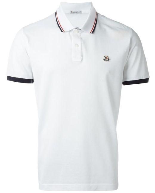 Moncler logo polo shirt in white for men lyst for Moncler polo shirt sale