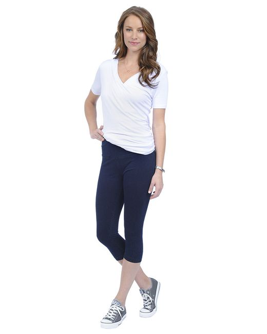 Lyssé | Blue Perfect Denim Capri Leggings | Lyst