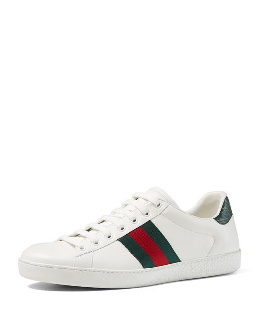 Gucci   Red New Ace Leather And Crocodile Trainers   Lyst