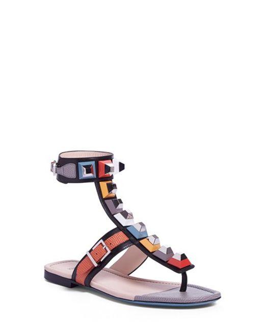 Fendi Rainbow Studded Colorblock Gladiator Sandal In