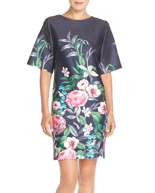 Eliza J Floral Print Scuba Shift Dress In Blue Blue Print