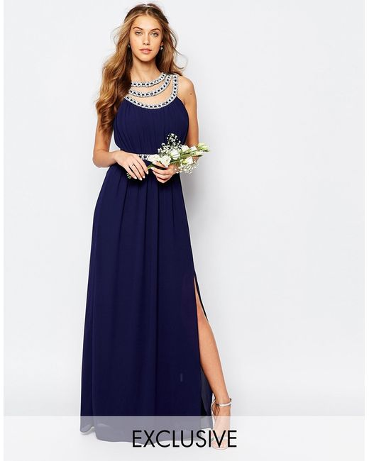 Tfnc wedding embellished maxi dress in blue navy lyst for Navy blue maxi dress for wedding