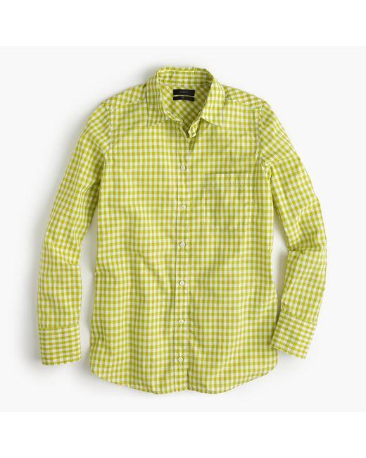 J.Crew | Green Boy Shirt In Mini Gingham | Lyst