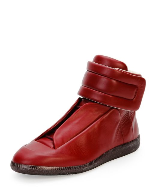 Maison margiela Future Leather High-top Sneaker in Red for ...