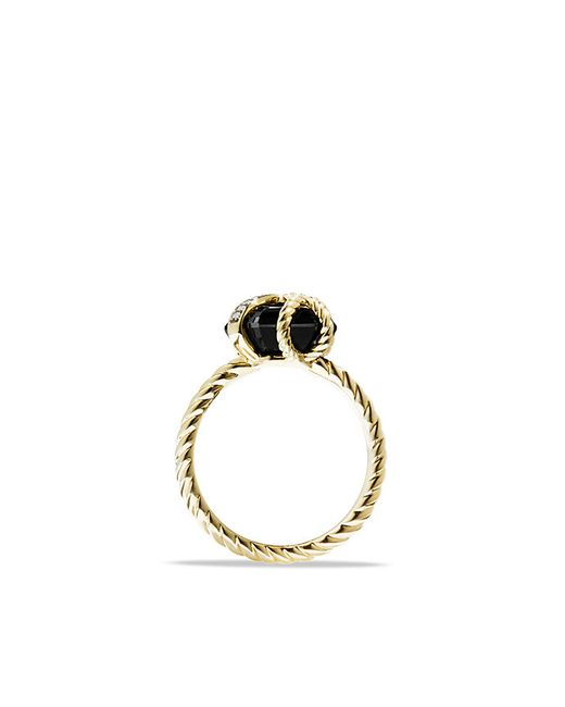 David Yurman | Cable Wrap Ring With Diamonds And Black Onyx In 18k Gold, 10mm | Lyst