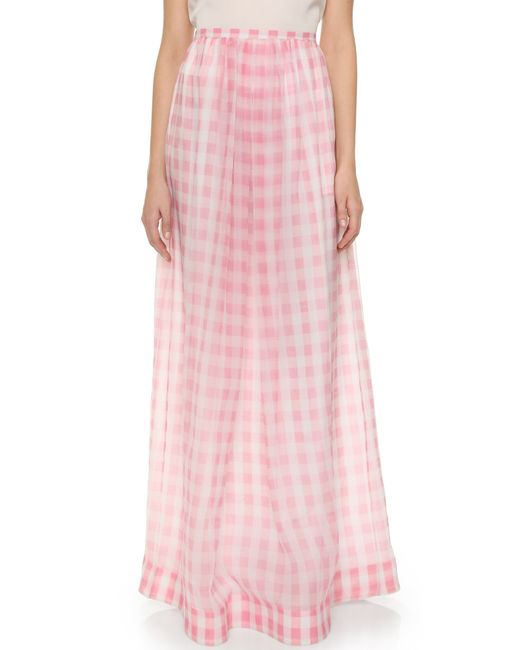 rochas checked silk gauze maxi skirt in pink lyst