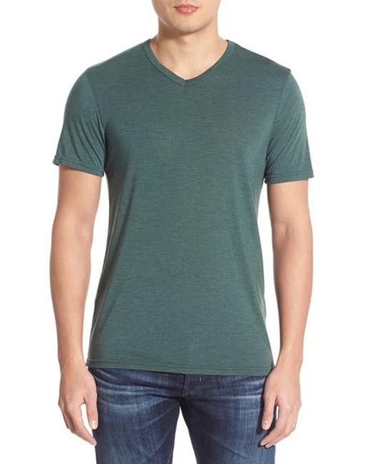 Michael stars v neck t shirt in teal for men oxide lyst for Michael stars tee shirts
