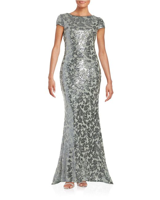 Calvin Klein | Gray Sequined Floral Gown | Lyst