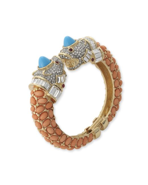 Kenneth Jay Lane | Pink Coral Pavé Animal Head Bracelet | Lyst