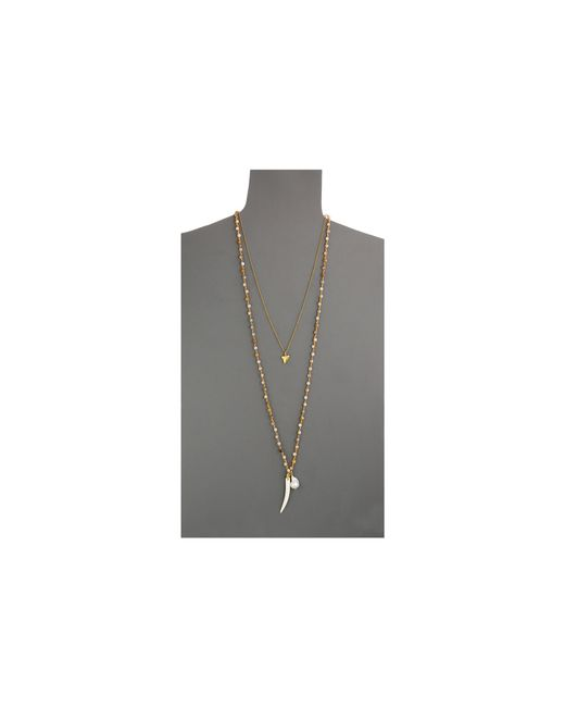 "Chan Luu | Metallic 34"" Double Strand Necklace W/ Shark Tooth Charm 