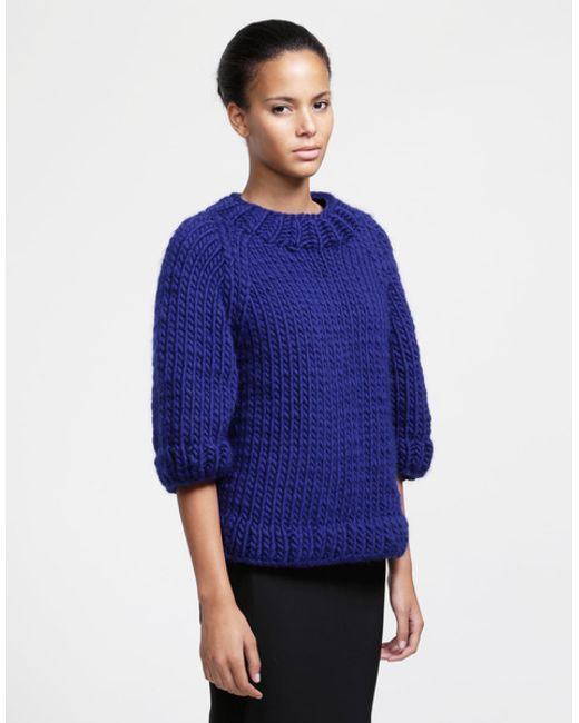 Wool and the gang ashleigh sweater in blue zoot suit blue - Gang and the wool ...