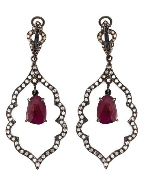Loree Rodkin | Black Diamond And Ruby Drop Earrings | Lyst