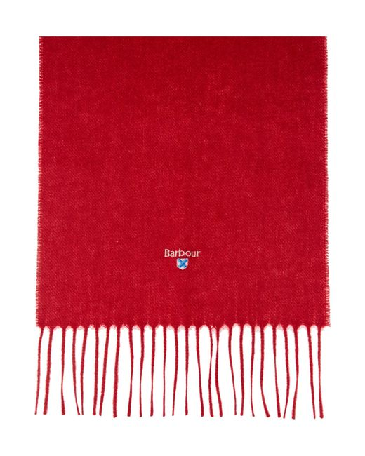 Barbour | Red Plain Lambswool Scarf for Men | Lyst
