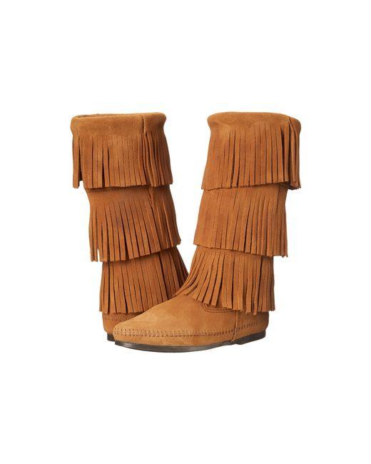 Minnetonka   Brown Calf Hi 3-layer Fringe Boot   Lyst