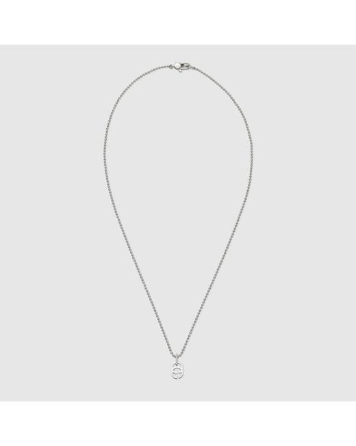 Gucci | Metallic White Gold Running G Necklace | Lyst