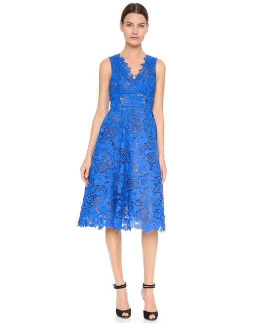 Monique Lhuillier | Blue Guipure Tea Length Dress | Lyst