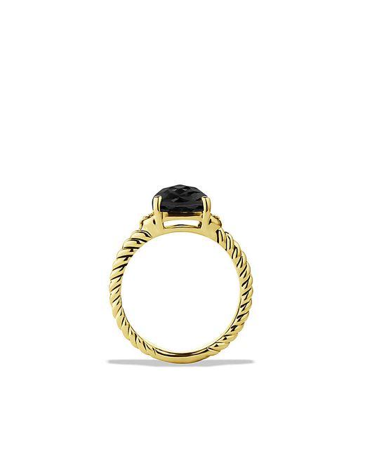 David Yurman | Petite Wheaton Ring With Black Onyx And Diamonds In 18k Gold | Lyst
